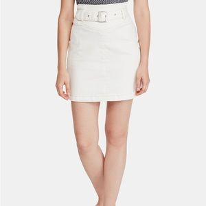 Free people belted livin it up white mini skirt